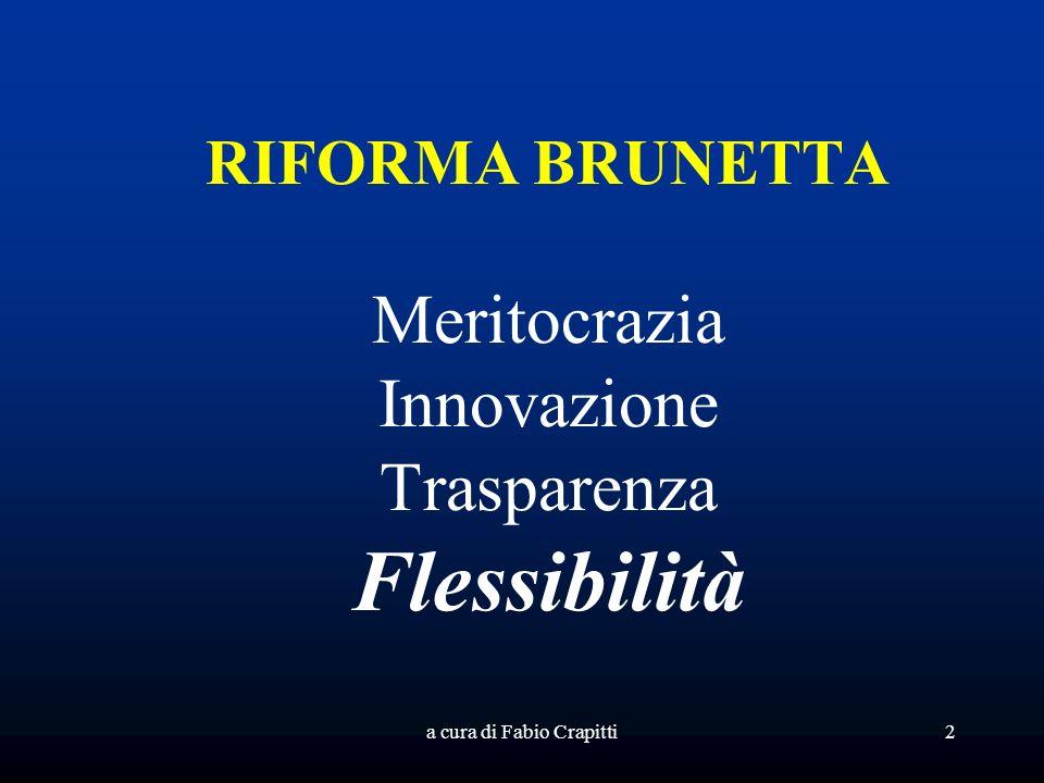 a cura di Fabio Crapitti2 RIFORMA BRUNETTA Meritocrazia Innovazione Trasparenza Flessibilità