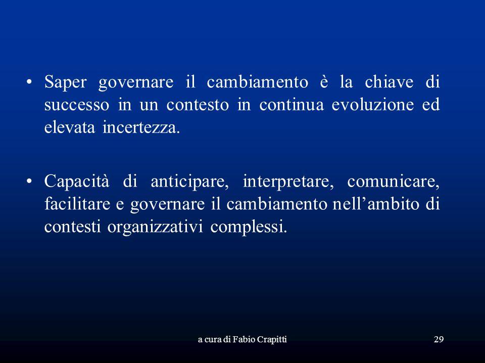 a cura di Fabio Crapitti29 Saper governare il cambiamento è la chiave di successo in un contesto in continua evoluzione ed elevata incertezza. Capacit