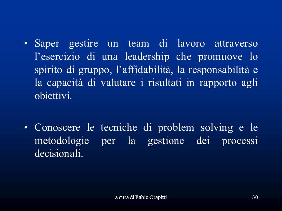 a cura di Fabio Crapitti30 Saper gestire un team di lavoro attraverso lesercizio di una leadership che promuove lo spirito di gruppo, laffidabilità, la responsabilità e la capacità di valutare i risultati in rapporto agli obiettivi.