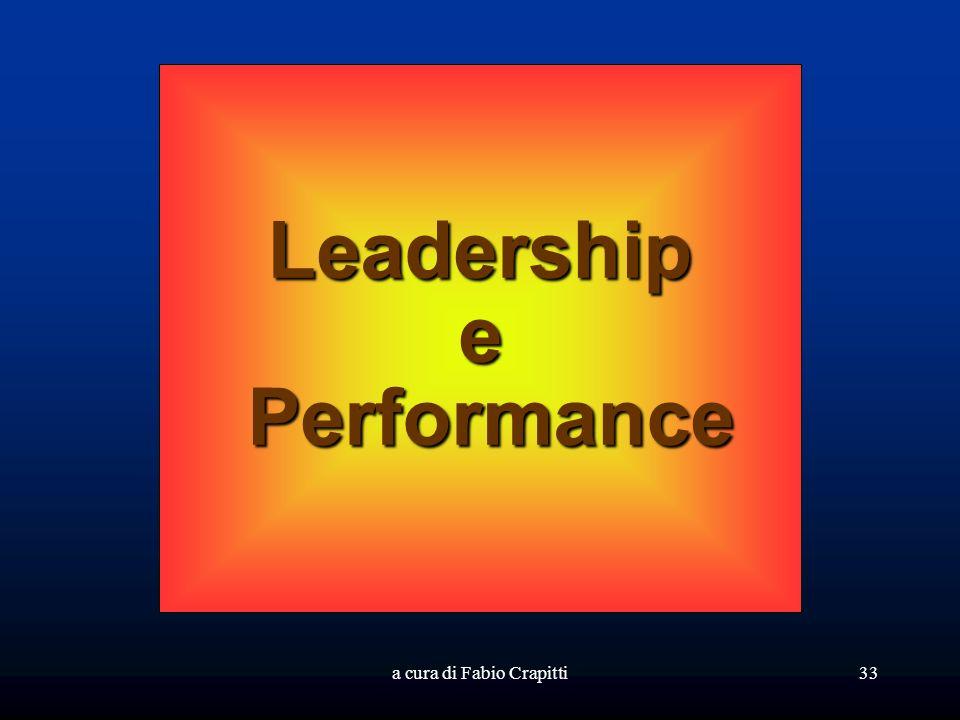a cura di Fabio Crapitti33 Leadershipe Performance Performance