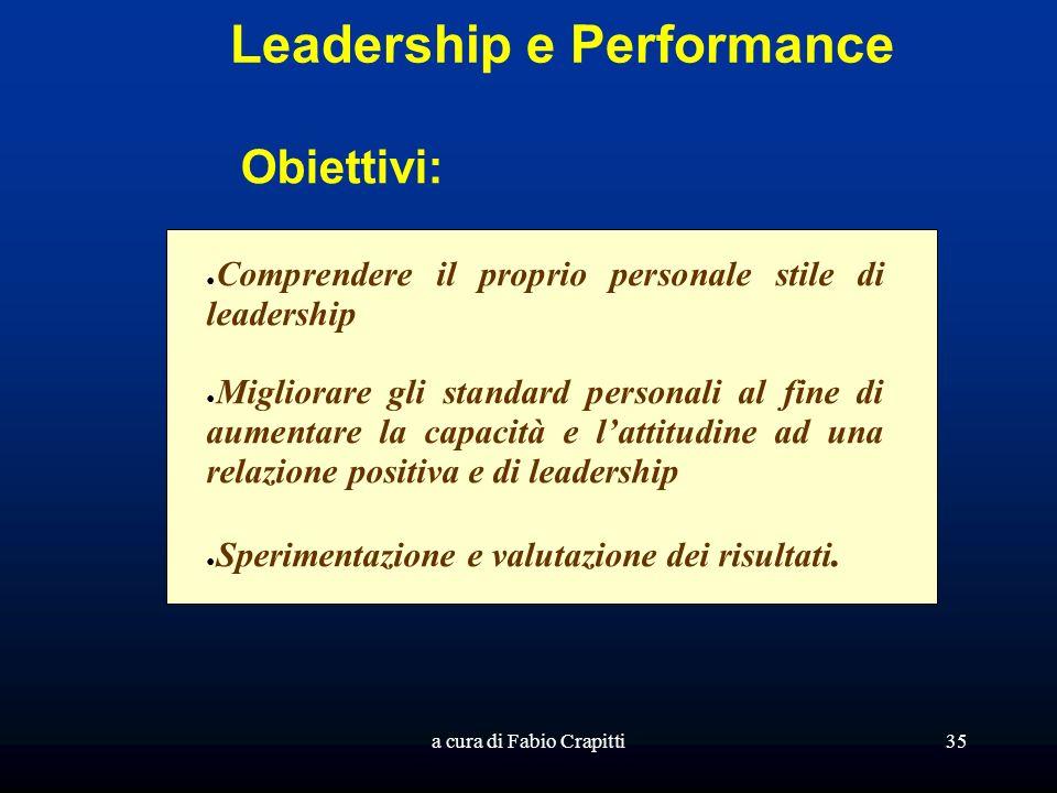 a cura di Fabio Crapitti35 Leadership e Performance Obiettivi: Comprendere il proprio personale stile di leadership Migliorare gli standard personali al fine di aumentare la capacità e lattitudine ad una relazione positiva e di leadership Sperimentazione e valutazione dei risultati.