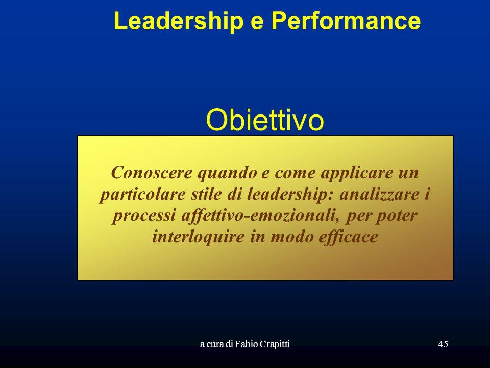 a cura di Fabio Crapitti45 Leadership e Performance Obiettivo Conoscere quando e come applicare un particolare stile di leadership: analizzare i processi affettivo-emozionali, per poter interloquire in modo efficace
