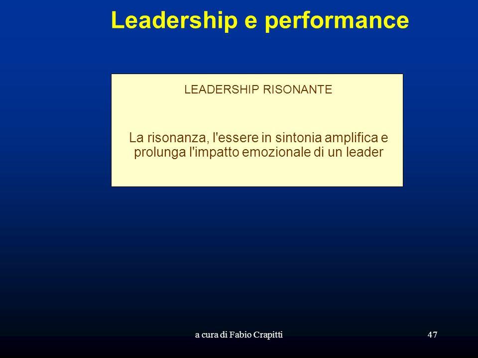 a cura di Fabio Crapitti47 Leadership e performance LEADERSHIP RISONANTE La risonanza, l essere in sintonia amplifica e prolunga l impatto emozionale di un leader