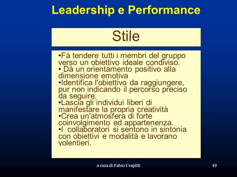 a cura di Fabio Crapitti49 Leadership e Performance Stile Fà tendere tutti i membri del gruppo verso un obiettivo ideale condiviso. Dà un orientamento