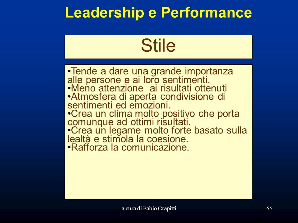 a cura di Fabio Crapitti55 Leadership e Performance Stile Tende a dare una grande importanza alle persone e ai loro sentimenti. Meno attenzione ai ris