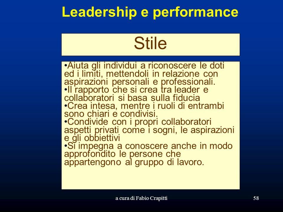 a cura di Fabio Crapitti58 Leadership e performance Stile Aiuta gli individui a riconoscere le doti ed i limiti, mettendoli in relazione con aspirazioni personali e professionali.