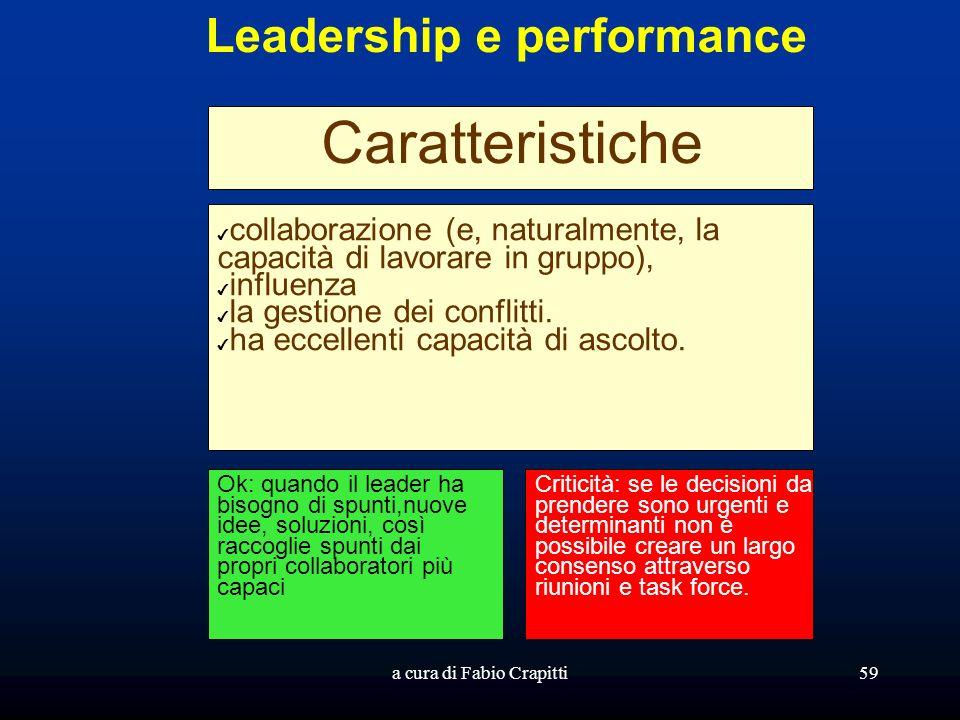a cura di Fabio Crapitti59 Leadership e performance Caratteristiche collaborazione (e, naturalmente, la capacità di lavorare in gruppo), influenza la