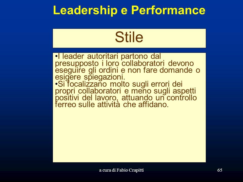 a cura di Fabio Crapitti65 Leadership e Performance Stile I leader autoritari partono dal presupposto i loro collaboratori devono eseguire gli ordini e non fare domande o esigere spiegazioni.