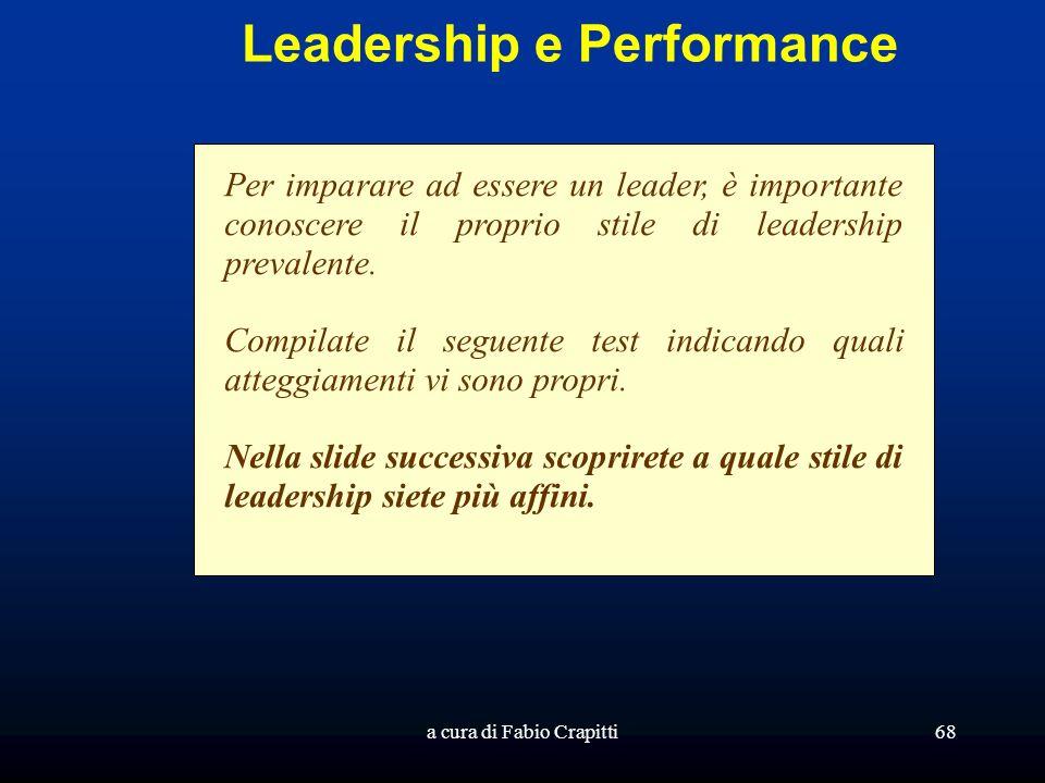 a cura di Fabio Crapitti68 Leadership e Performance Per imparare ad essere un leader, è importante conoscere il proprio stile di leadership prevalente
