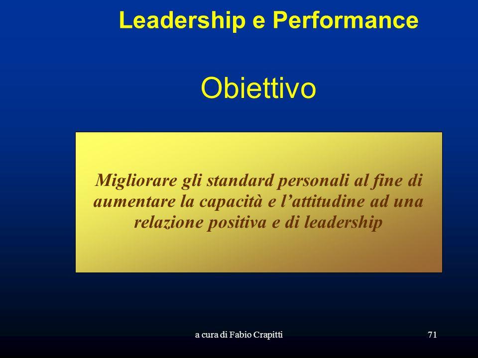 a cura di Fabio Crapitti71 Leadership e Performance Obiettivo Migliorare gli standard personali al fine di aumentare la capacità e lattitudine ad una relazione positiva e di leadership