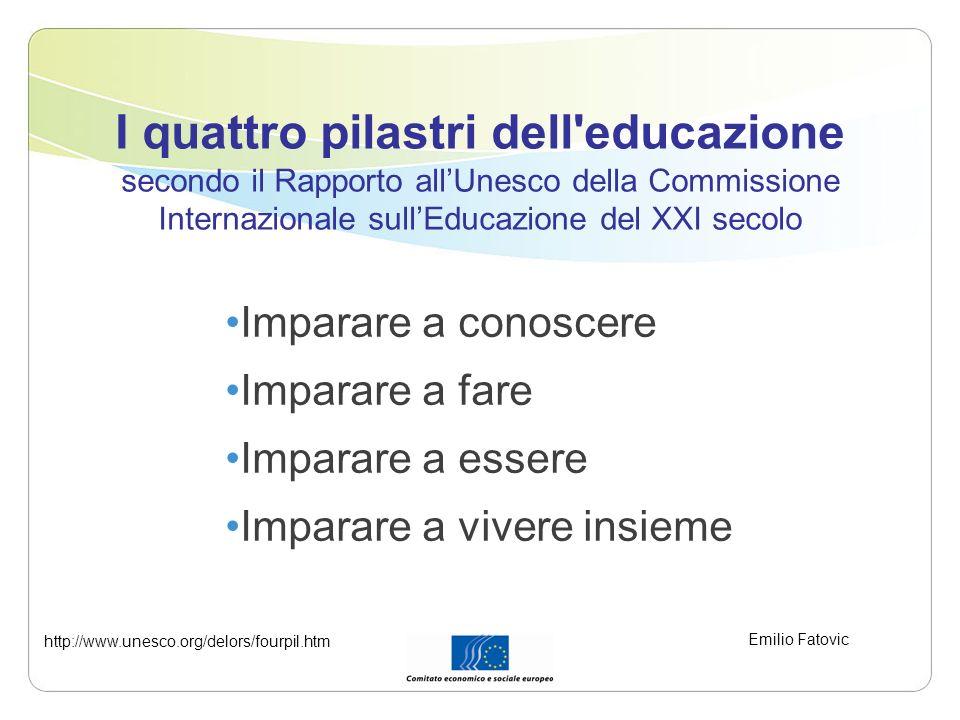 I quattro pilastri dell'educazione secondo il Rapporto allUnesco della Commissione Internazionale sullEducazione del XXI secolo Imparare a conoscere I