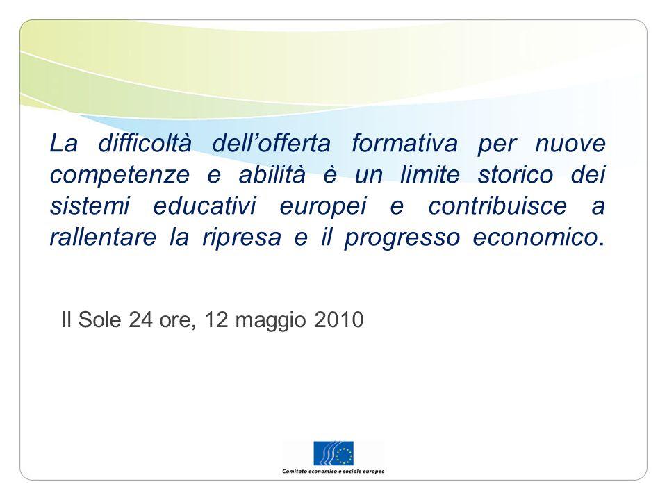 La difficoltà dellofferta formativa per nuove competenze e abilità è un limite storico dei sistemi educativi europei e contribuisce a rallentare la ri