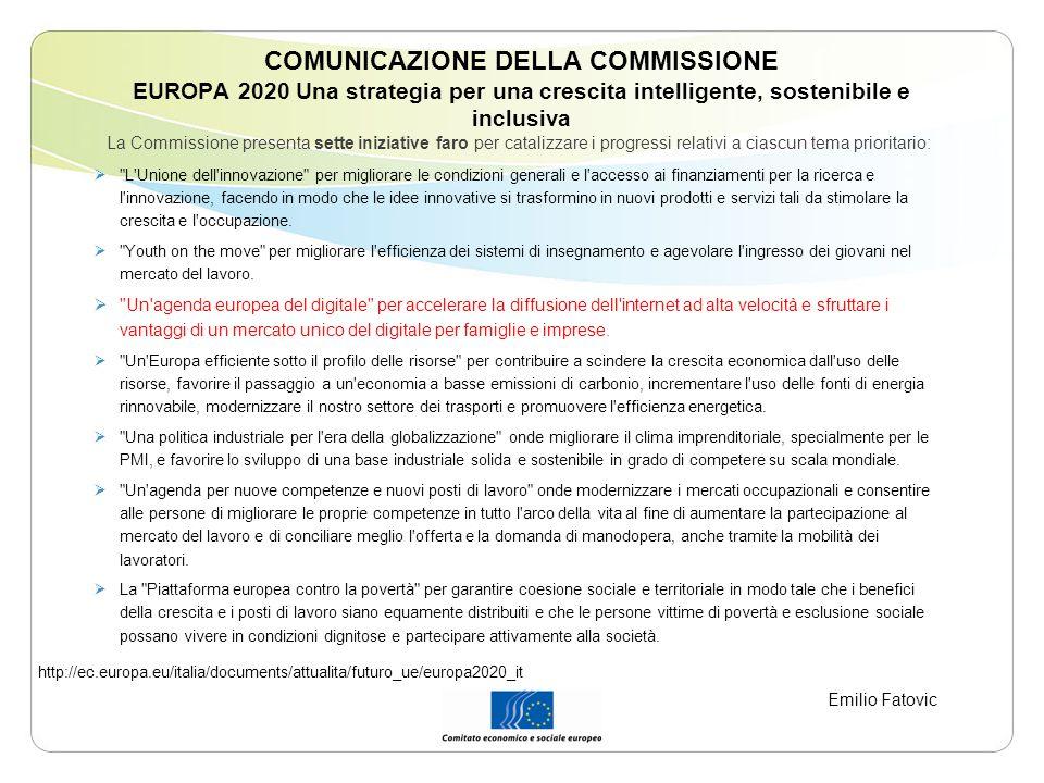 COMUNICAZIONE DELLA COMMISSIONE EUROPA 2020 Una strategia per una crescita intelligente, sostenibile e inclusiva La Commissione presenta sette iniziat