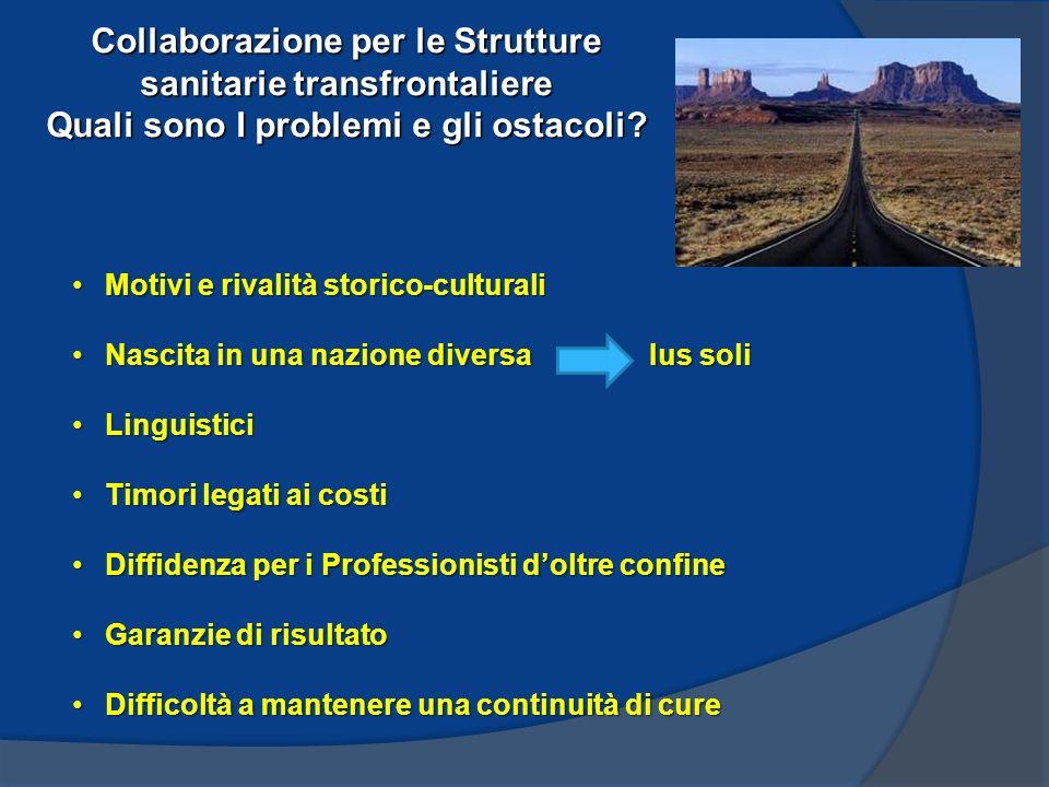Collaborazione per le Strutture sanitarie transfrontaliere Quali sono I problemi e gli ostacoli.