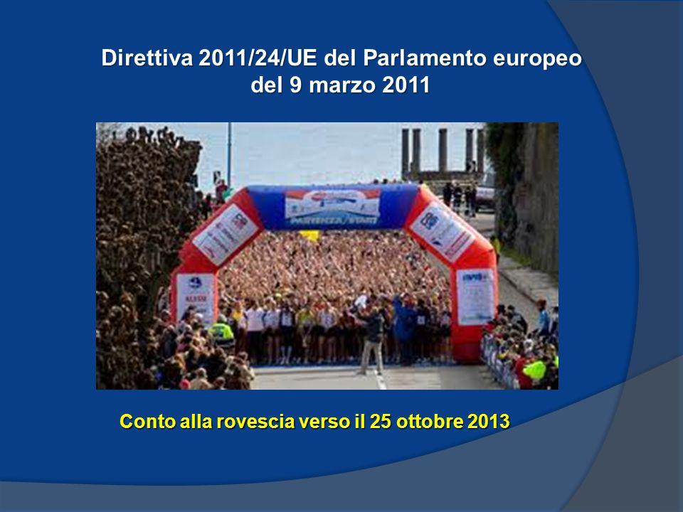 Direttiva 2011/24/UE del Parlamento europeo del 9 marzo 2011 Conto alla rovescia verso il 25 ottobre 2013