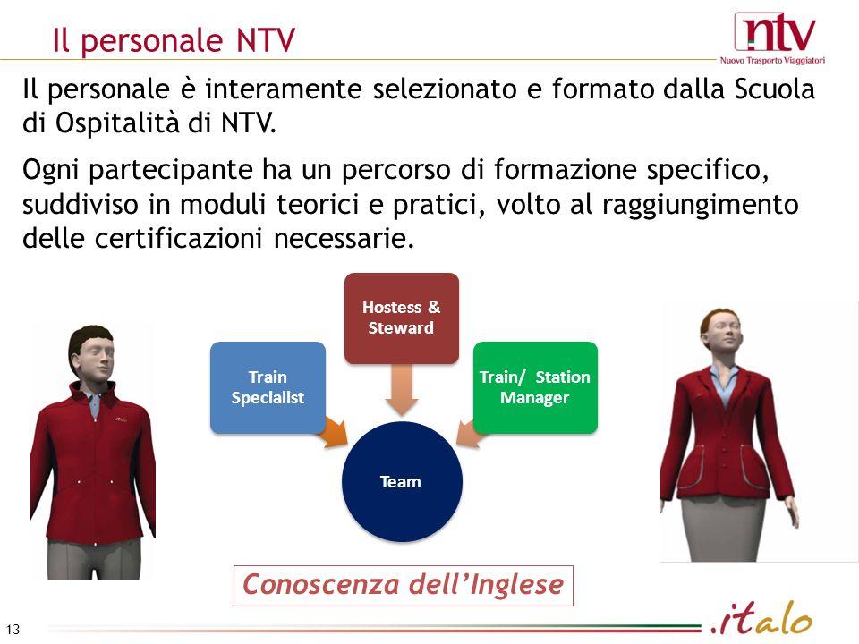 Team Train Specialist Hostess & Steward Train/ Station Manager Conoscenza dellInglese Il personale è interamente selezionato e formato dalla Scuola di Ospitalità di NTV.