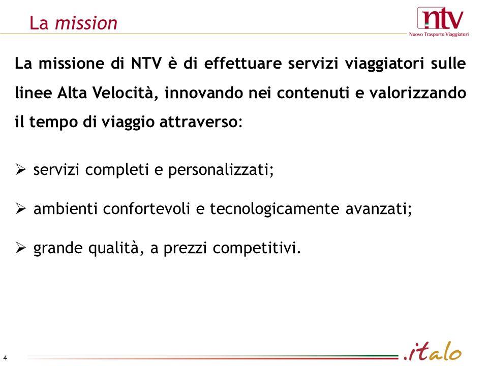 La mission 4 La missione di NTV è di effettuare servizi viaggiatori sulle linee Alta Velocità, innovando nei contenuti e valorizzando il tempo di viaggio attraverso: servizi completi e personalizzati; ambienti confortevoli e tecnologicamente avanzati; grande qualità, a prezzi competitivi.