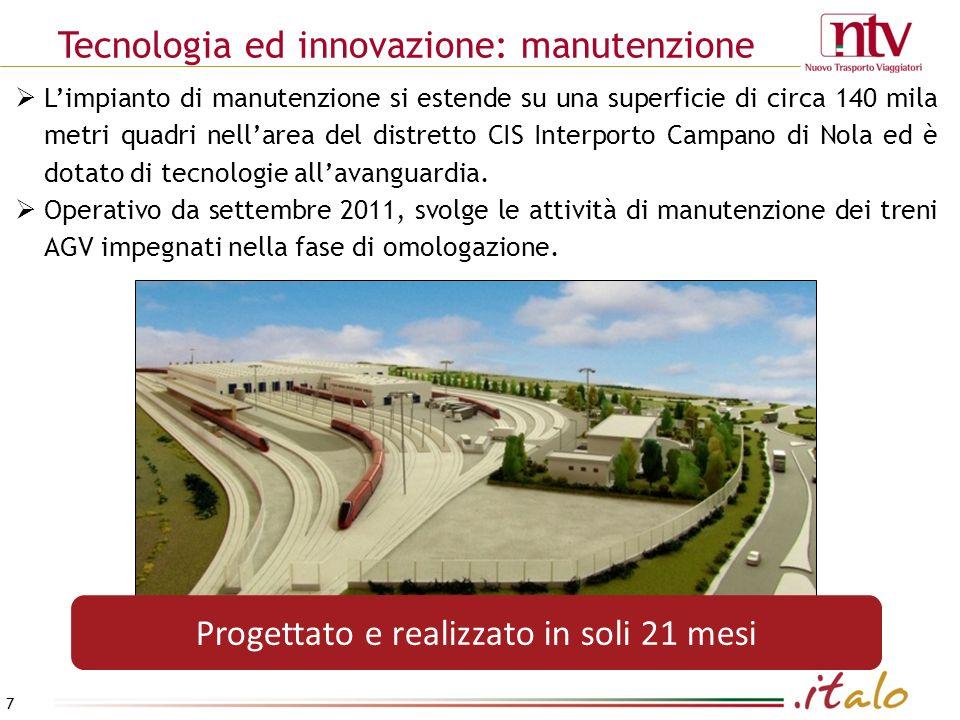 Tecnologia ed innovazione: manutenzione 7 Progettato e realizzato in soli 21 mesi Limpianto di manutenzione si estende su una superficie di circa 140 mila metri quadri nellarea del distretto CIS Interporto Campano di Nola ed è dotato di tecnologie allavanguardia.