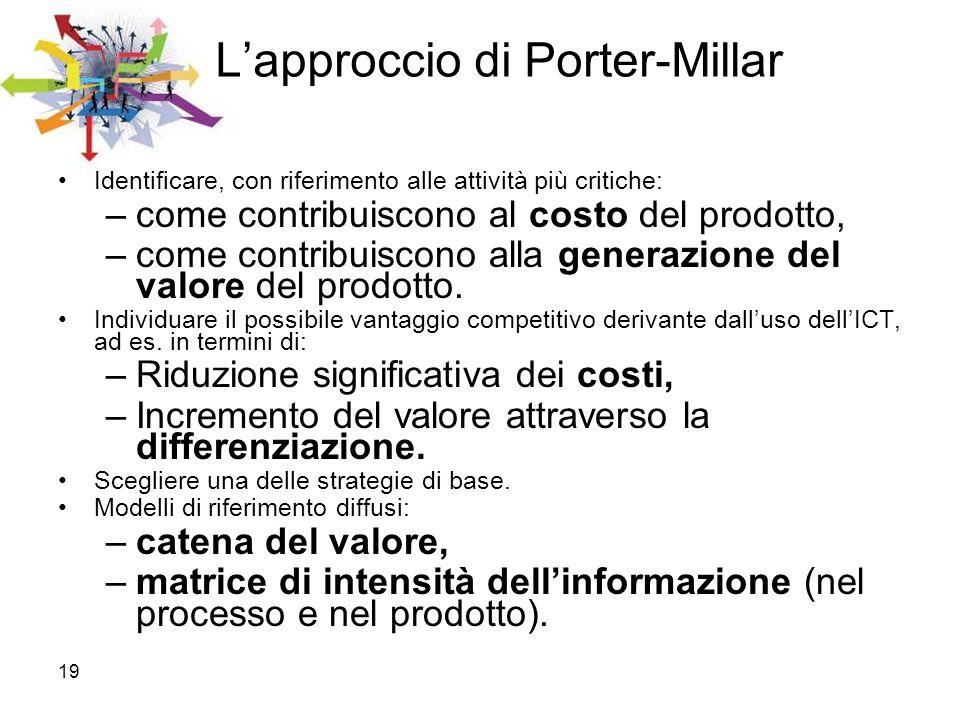 19 Lapproccio di Porter-Millar Identificare, con riferimento alle attività più critiche: –come contribuiscono al costo del prodotto, –come contribuisc