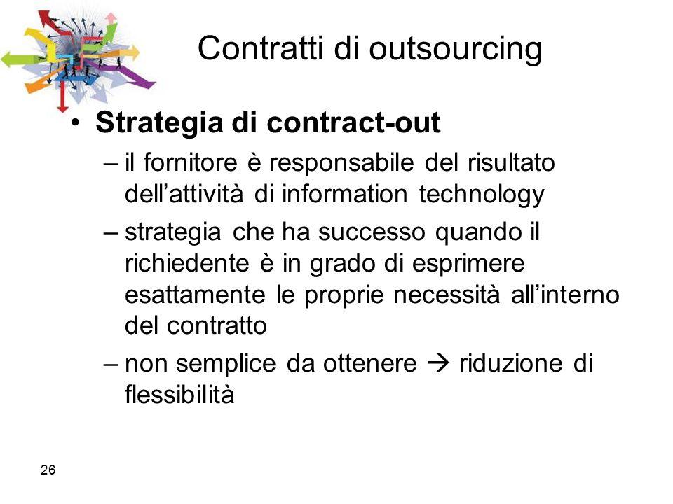 26 Contratti di outsourcing Strategia di contract-out –il fornitore è responsabile del risultato dellattività di information technology –strategia che
