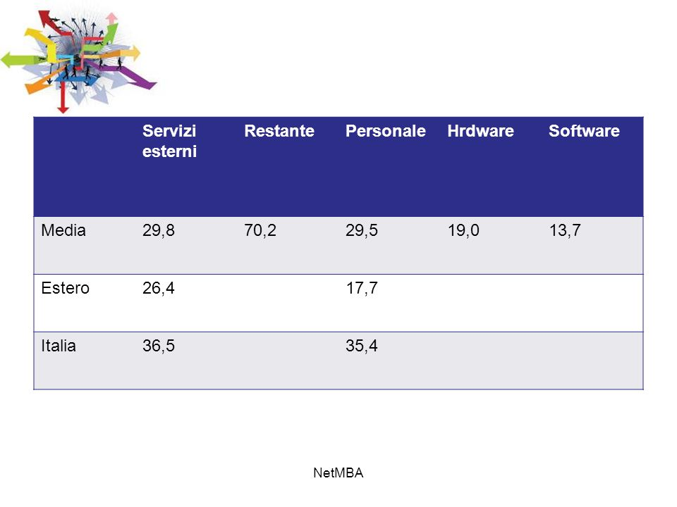 Servizi esterni RestantePersonaleHrdwareSoftware Media29,870,229,519,013,7 Estero26,417,7 Italia36,535,4 NetMBA