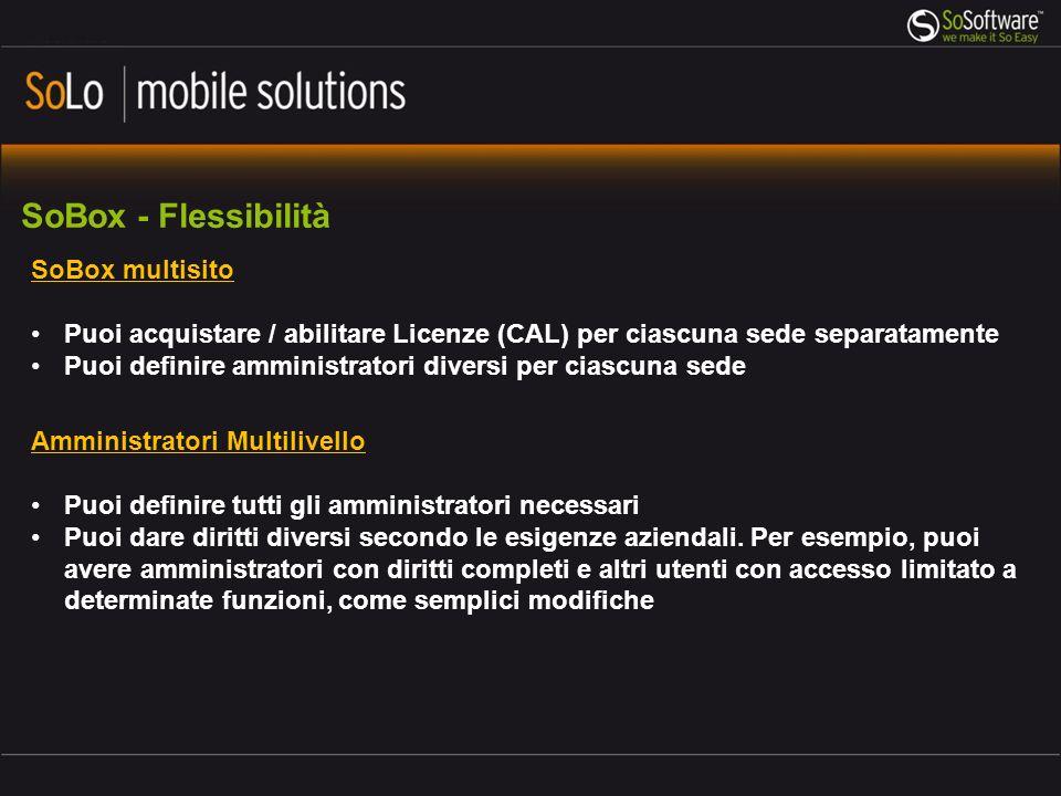 SoBox - Flessibilità SoBox multisito Puoi acquistare / abilitare Licenze (CAL) per ciascuna sede separatamente Puoi definire amministratori diversi pe