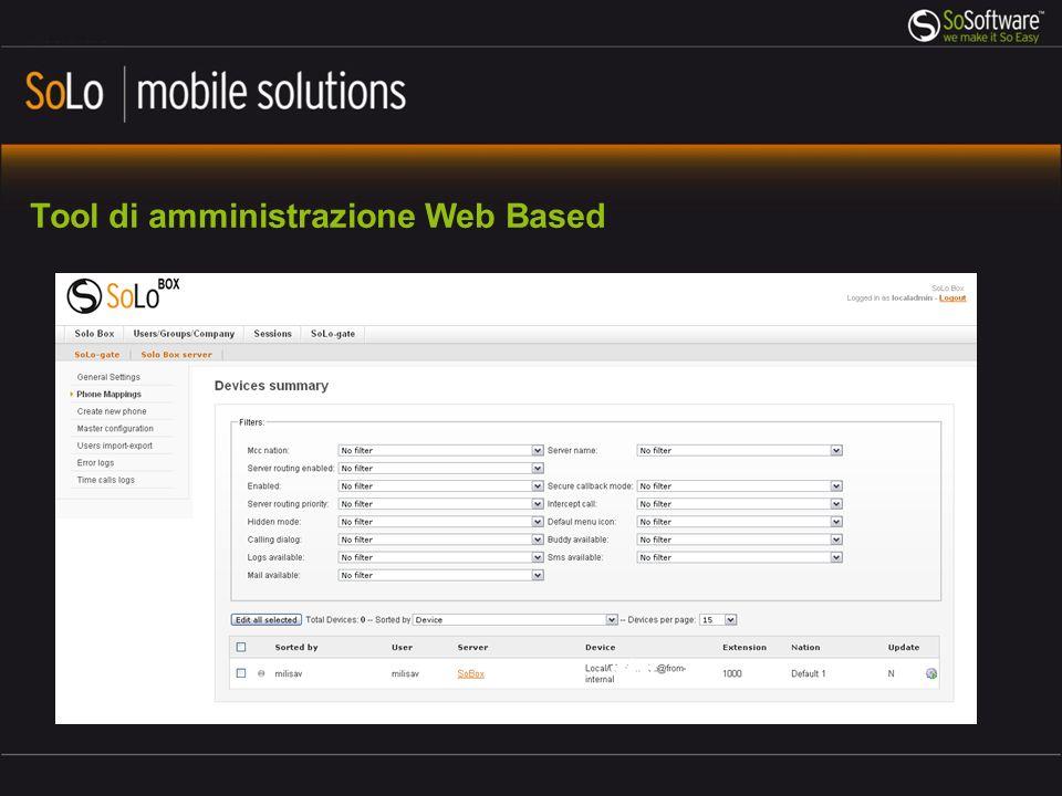 Tool di amministrazione Web Based