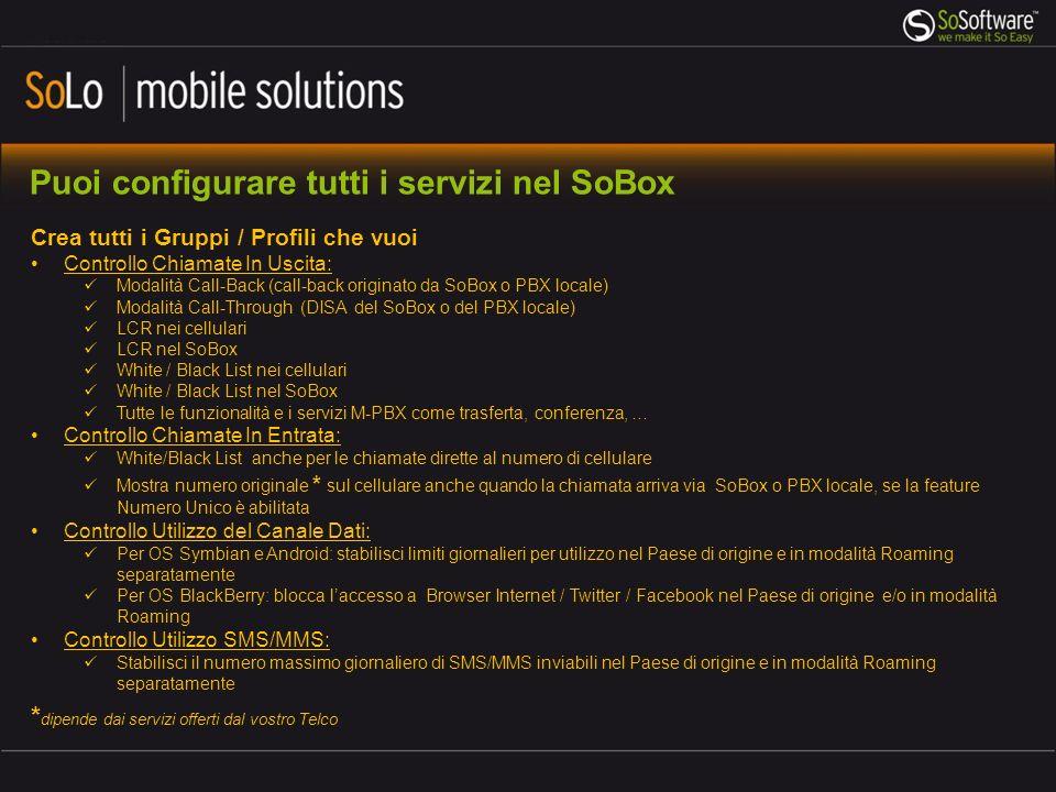 Puoi configurare tutti i servizi nel SoBox Crea tutti i Gruppi / Profili che vuoi Controllo Chiamate In Uscita: Modalità Call-Back (call-back originat