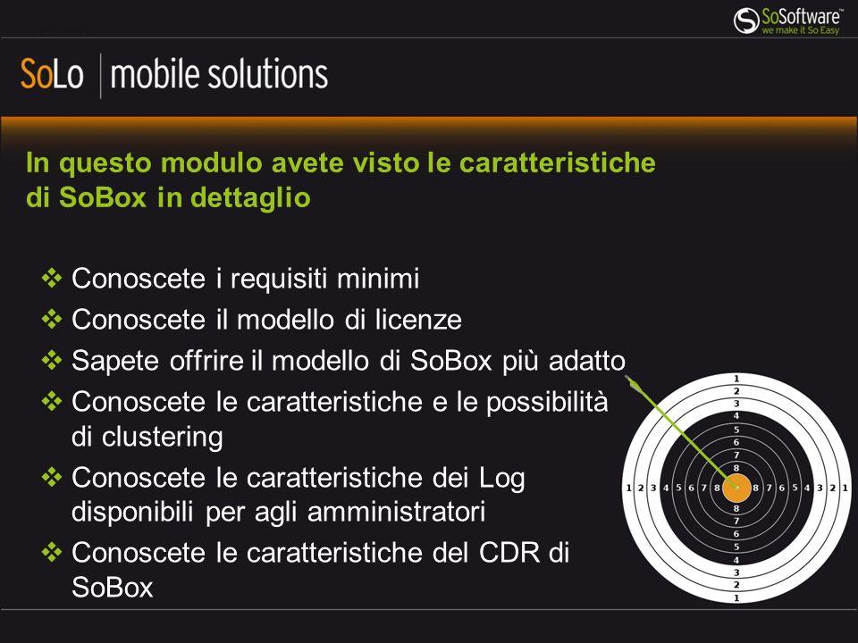 In questo modulo avete visto le caratteristiche di SoBox in dettaglio Conoscete i requisiti minimi Conoscete il modello di licenze Sapete offrire il m
