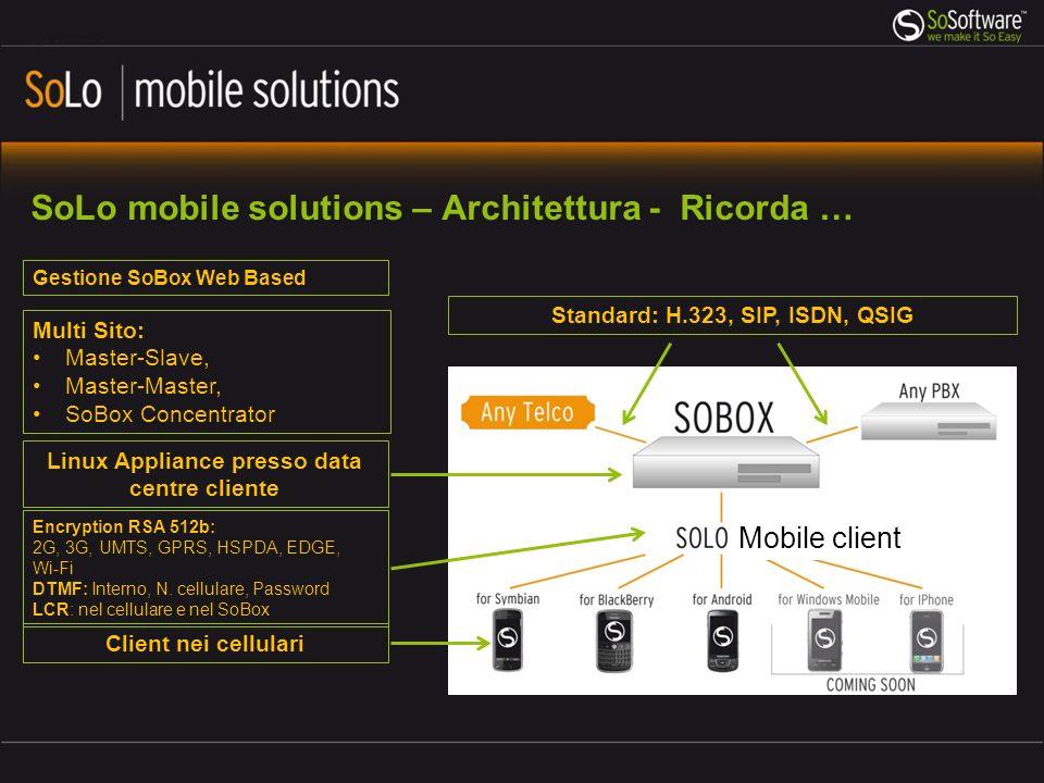 SoBox - requisiti minimi 1.Connessione internet con IP pubblico (consigliato record DNS) 2.Porta 5222 aperta (è possibile cambiare porta) nel Firewall per connettere i Cellulari (link cifrato RSA 512b) 3.Numero di canali (linee) adeguato al numero di telefonate simultanee desiderate 4.Opzionale: Trunk ISDN verso Telco o PBX locale; verificare necessità di scheda ISDN BRI/PRI aggiuntiva 5.Opzionale: Trunk IP verso Telco o PBX locale: basta connettere SoBox che include una scheda IP (embedded) 6.In caso di utilizzo della tecnologia DTMF: riservare 10 numeri DID per i servizi 7.Acquistare un numero di CAL (Client Access Licences) adeguato al numero di utenti da configurare 8.Spazio sufficiente in datacenter, rack 19 (2 unità) 9.Alimentazione 220/240V (doppia per modelli ridondati: modelli advanced & performance)