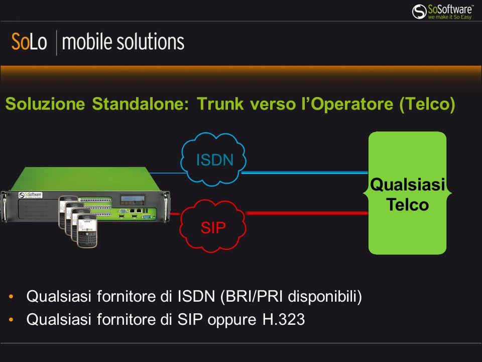 Trunk interno verso PBX aziendale Chiamate interne dirette con numeri brevi Utilizzo di linee / riconoscimenti del PBX Utilizzo delle features del PBX QSIG (ISDN) SIP H.323 QUALSIASI PBX SoBox utilizza SIP e H.323 basati sui protocolli standard ufficiali.