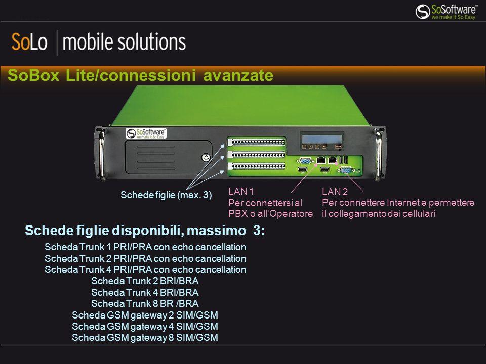 Capacità massima di una unità SoBox Standalone Canali in trunk IP con codec G711: 300 canali, 150 chiamate simultanee Canali in trunk ISDN: 8xPRI > 240 canali, 120 chiamate simultanee esterne Numero di utenti: 5.000 Totale: Utenti: massimo 5.000 Trunk ISDN + IP: 330 canali, 165 chiamate simultanee