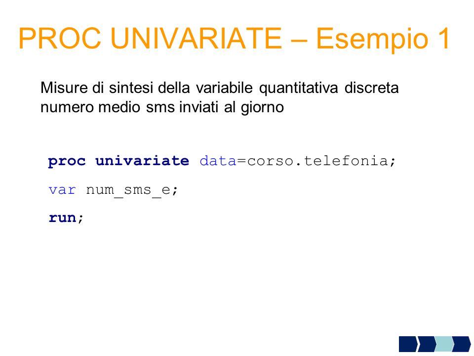 PROC UNIVARIATE – Esempio 1 Misure di sintesi della variabile quantitativa discreta numero medio sms inviati al giorno proc univariate data=corso.tele