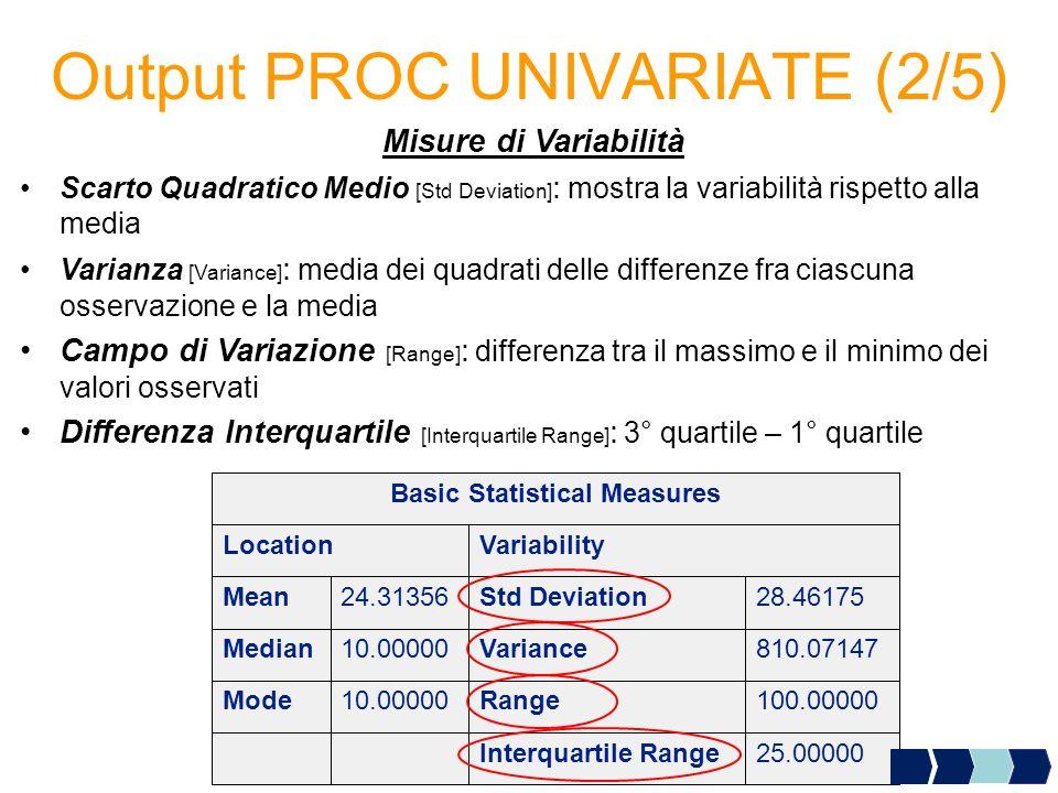 Output PROC UNIVARIATE (2/5) Misure di Variabilità Scarto Quadratico Medio [Std Deviation] : mostra la variabilità rispetto alla media Varianza [Varia