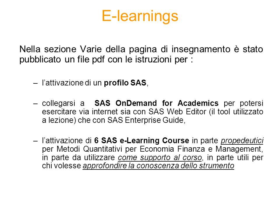 E-learnings Nella sezione Varie della pagina di insegnamento è stato pubblicato un file pdf con le istruzioni per : –lattivazione di un profilo SAS, –