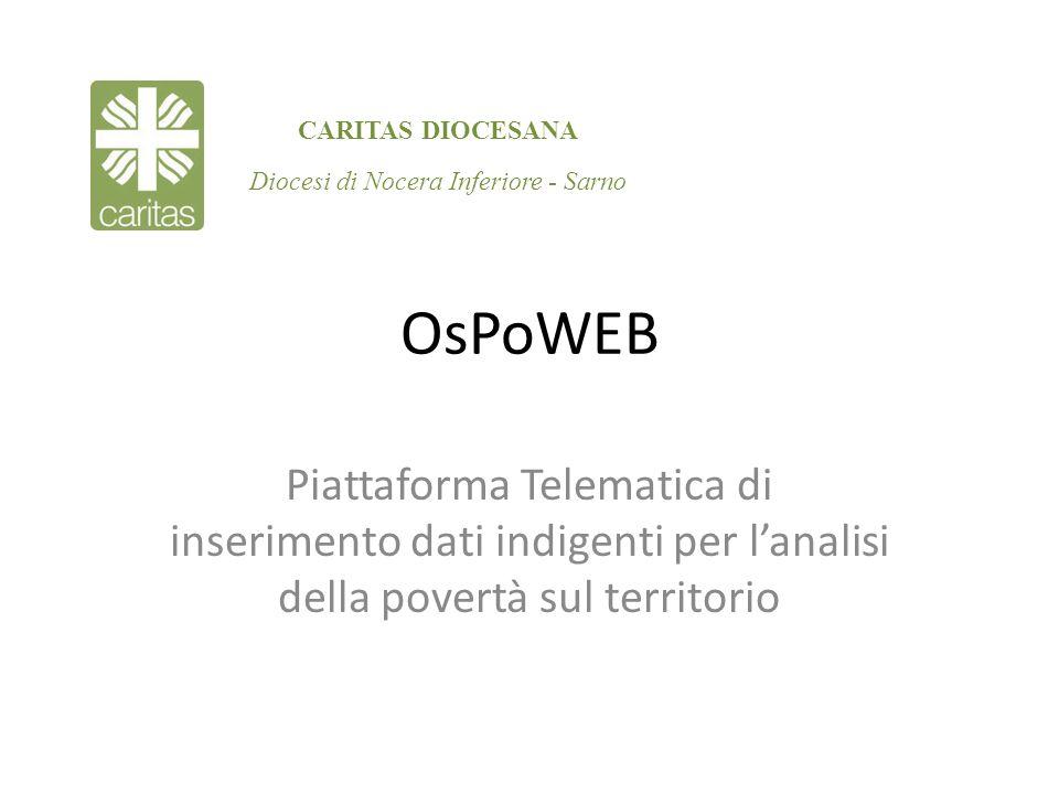OsPoWEB Piattaforma Telematica di inserimento dati indigenti per lanalisi della povertà sul territorio CARITAS DIOCESANA Diocesi di Nocera Inferiore -