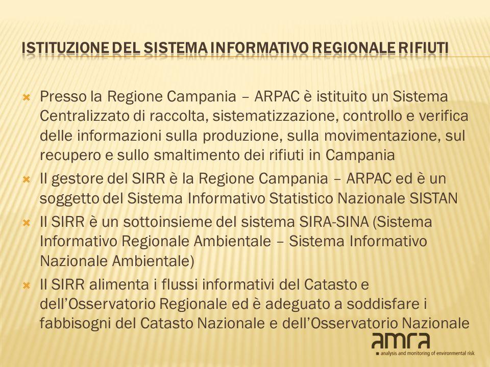 Presso la Regione Campania – ARPAC è istituito un Sistema Centralizzato di raccolta, sistematizzazione, controllo e verifica delle informazioni sulla