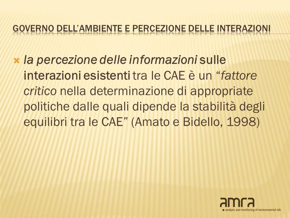 la percezione delle informazioni sulle interazioni esistenti tra le CAE è un fattore critico nella determinazione di appropriate politiche dalle quali