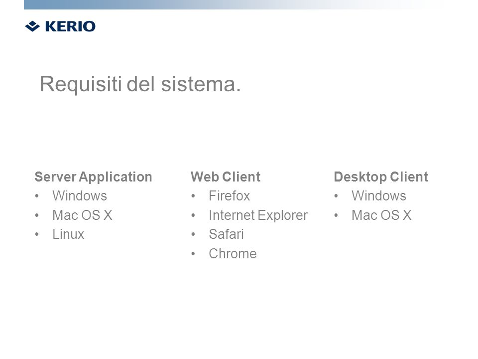 Server Application Windows Mac OS X Linux Web Client Firefox Internet Explorer Safari Chrome Desktop Client Windows Mac OS X Requisiti del sistema.