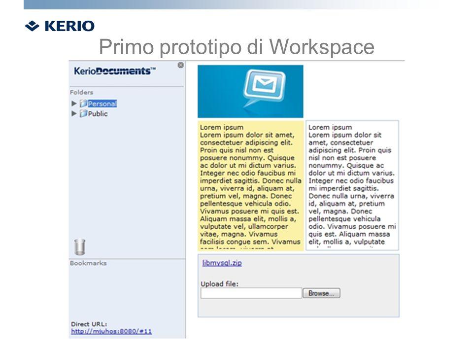 Primo prototipo di Workspace