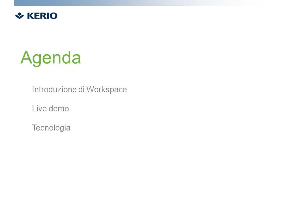 Agenda Introduzione di Workspace Live demo Tecnologia
