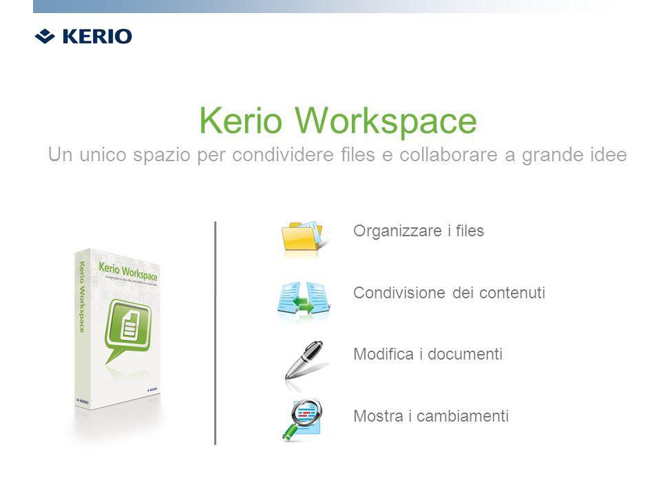 Organizzare i files Condivisione dei contenuti Modifica i documenti Mostra i cambiamenti Kerio Workspace Un unico spazio per condividere files e colla