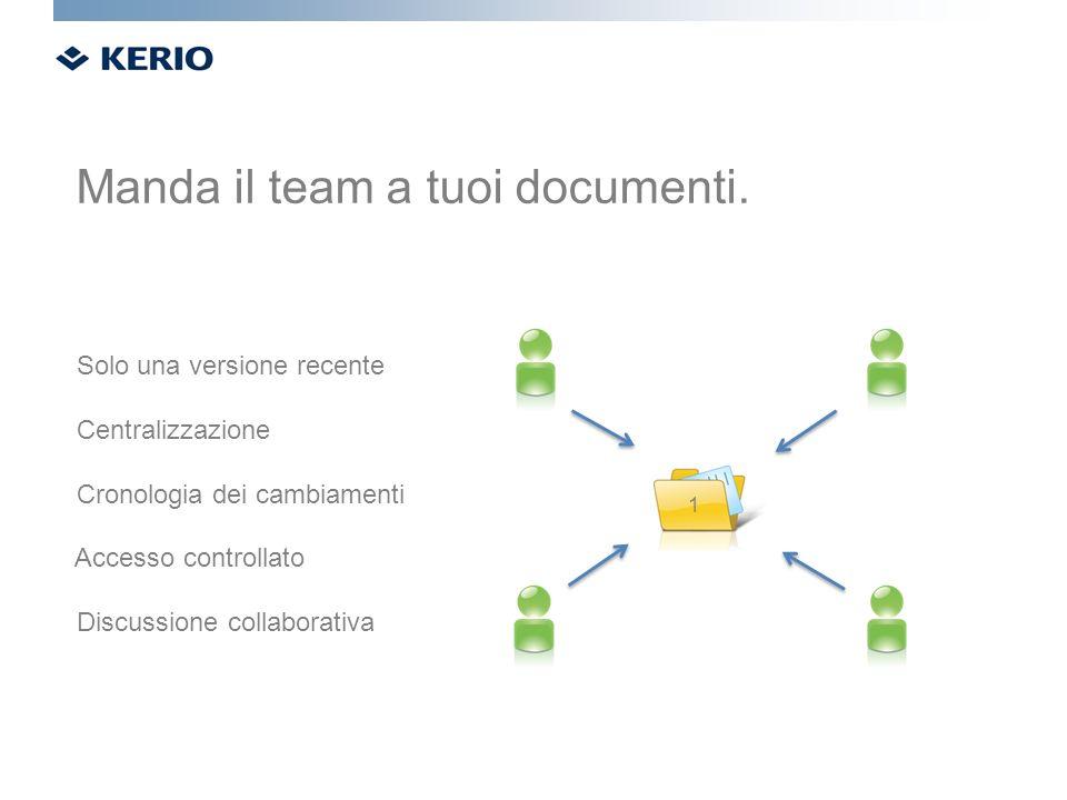 Solo una versione recente Centralizzazione Cronologia dei cambiamenti Accesso controllato Discussione collaborativa Manda il team a tuoi documenti. 1