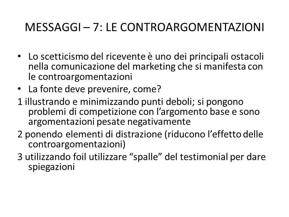 MESSAGGI – 7: LE CONTROARGOMENTAZIONI Lo scetticismo del ricevente è uno dei principali ostacoli nella comunicazione del marketing che si manifesta con le controargomentazioni La fonte deve prevenire, come.
