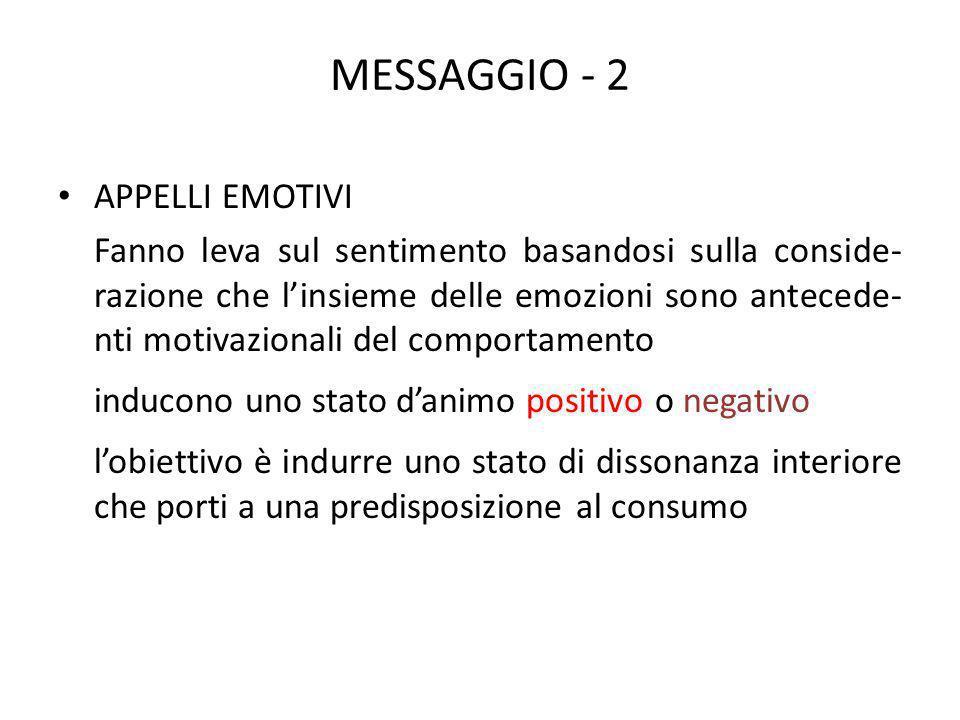 MESSAGGIO - 2 APPELLI EMOTIVI Fanno leva sul sentimento basandosi sulla conside- razione che linsieme delle emozioni sono antecede- nti motivazionali