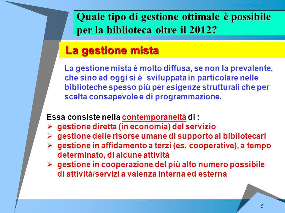 Quale tipo di gestione ottimale è possibile per la biblioteca oltre il 2012.