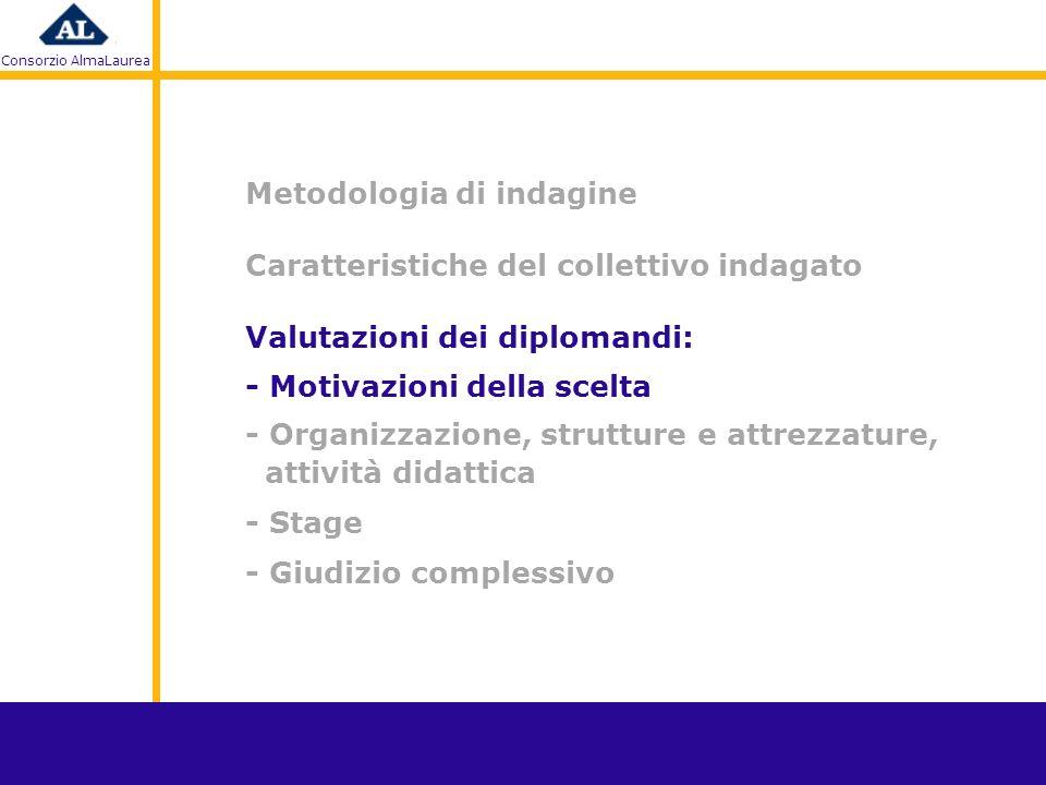 Consorzio AlmaLaurea Metodologia di indagine Caratteristiche del collettivo indagato - Motivazioni della scelta - Organizzazione, strutture e attrezzature, attività didattica - Stage - Giudizio complessivo Valutazioni dei diplomandi: