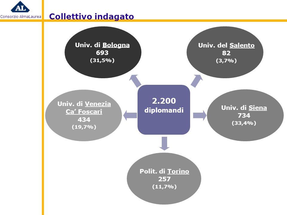 Consorzio AlmaLaurea 2.200 diplomandi 599 intervistati con metodologia CAWI (33,8% interviste) 1.172 intervistati con metodologia CATI (66,2% interviste) 1.771 intervistati periodo: ottobre 2009 – febbraio 2010 metodologia: CAWI+CATI tasso di risposta complessivo: 80,5% Metodologia di indagine