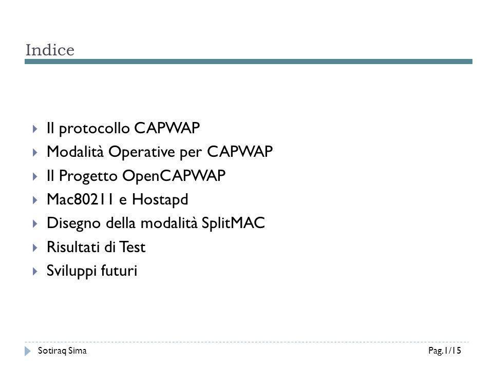 Risultati dei Test (1/2) Sotiraq SimaPag.12/15 Sistema Embedded Alix3d1 (x86) CPU Single Core (433MHz), 128MB Ram OpenWrt (Backfire v10.03) Atheros AR52111G Notebook PC (x86) CPU Dual Core (2.1GHz), 2GB Ram Debian (Kernel v3.0) WTP AC