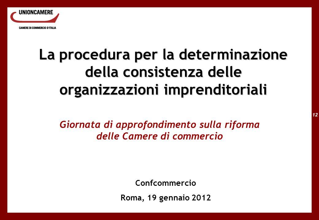 12 La procedura per la determinazione della consistenza delle organizzazioni imprenditoriali Giornata di approfondimento sulla riforma delle Camere di commercio Confcommercio Roma, 19 gennaio 2012